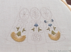 Floral Glove Needlecase - Beginning To Stitch