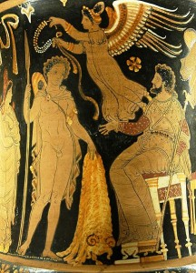 Jason bringing Pelias the Golden Fleece; a winged victory prepares to crown him with a wreath. Side A from an Apulian red-figure calyx crater, 340 BC–330 BC.