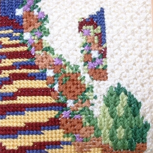 Steps in the Sun using canvaswork stitches in stranded cotton
