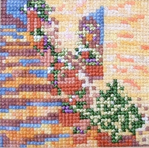 Steps in the Sun using various threads in counted cross stitch