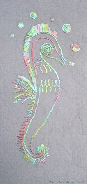 Small Seahorse in overdyed filament silk