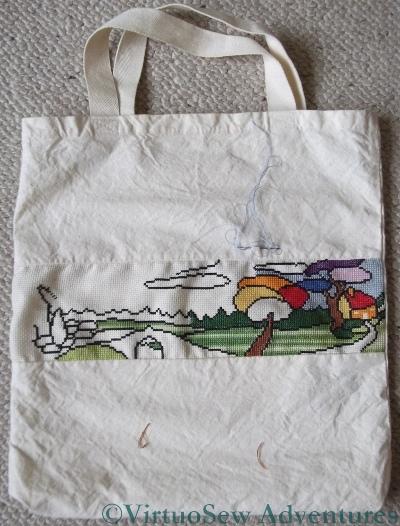 Cotton Bag with Aida panel, beginning the Design