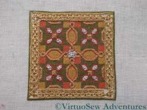 Tudor Pincushion Final Stitch In Place