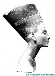 "Nefertiti rendered in ""newsprint"""