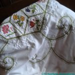 Tablecloth stitched by Elizabeth Emmens-Wilson