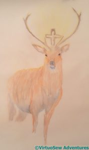 Second attempt at a stag with a crucifix between its antlers