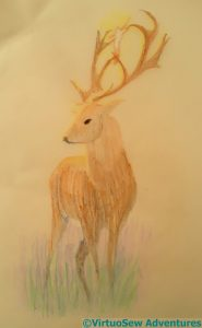 Fifth attempt at a stag with a crucifix between its antlers