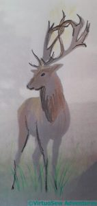 Third attempt at a stag with a crucifix between its antlers
