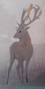 Fourth attempt at a stag with a crucifix between its antlers