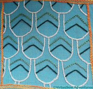 Chain Stitch outlines, green section