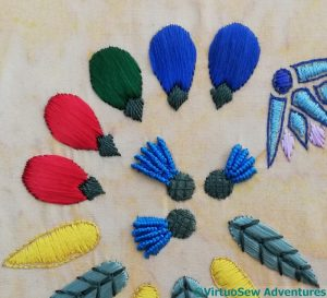 Faience Dates in satin stitch